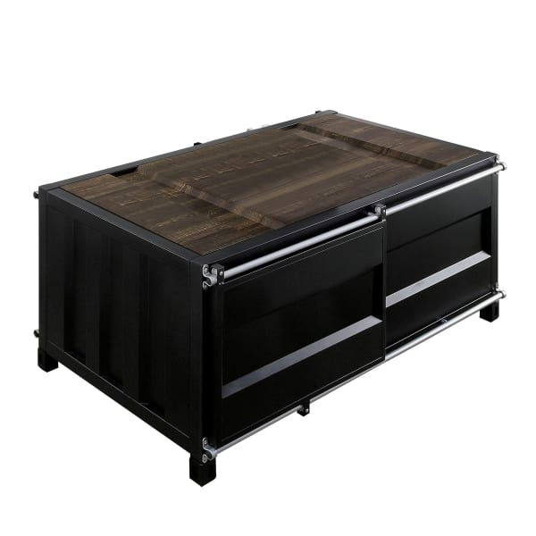 Container Style Coffee Table with Sliding Doors, Black