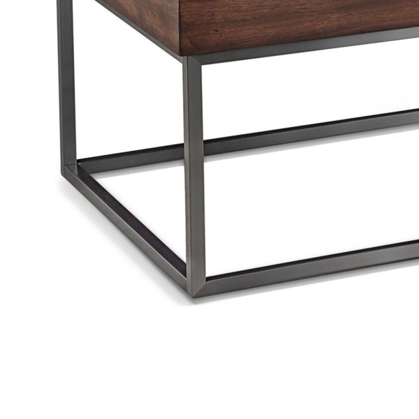 48 Inches Marble Top Coffee Table with Storage Slot, White and Brown