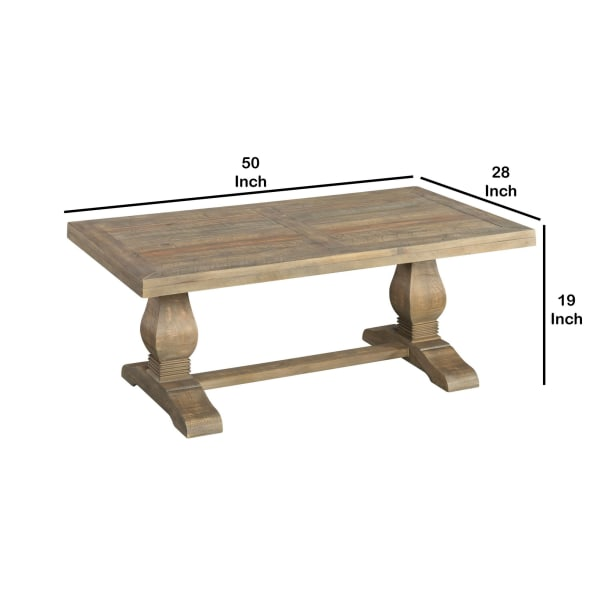 19 Inch Rectangular Coffee Table with Pedestal Base, Brown