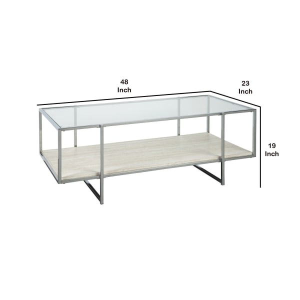 48 Inches Glass Top Cocktail Table with Stone Shelf, Clear and Chrome