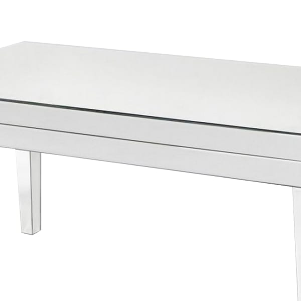 21 Inch Beveled Mirror Wood Coffee Table, Silver