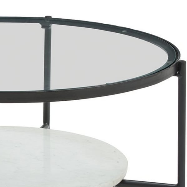 Glass Top Round Cocktail Table with Marble Shelf, Black and White