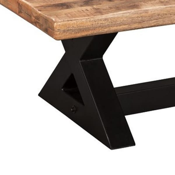 Rectangular Wooden Cocktail Table with X Shaped Metal Base, Brown and Black