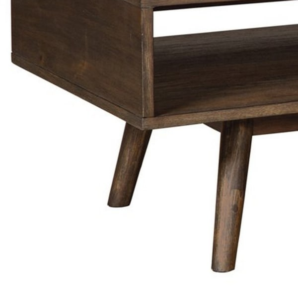 Wooden Cocktail Table with Open Bottom Shelf and Angled Legs, Brown