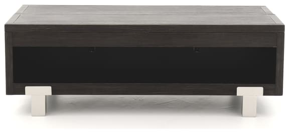 2 Drawer Wooden Rectangular Lift Top Cocktail Table with Metal Feet, Black