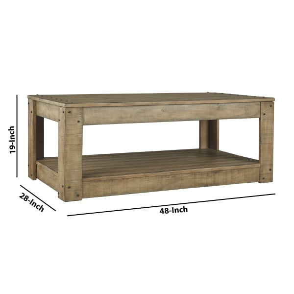 Plank Design Wooden Rectangular Cocktail Table with Weathered Look, Brown