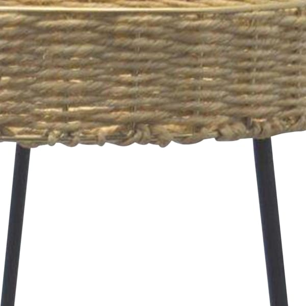 Round Tray Top Woven Rattan Coffee Table with Tubular Legs, Black and Brown
