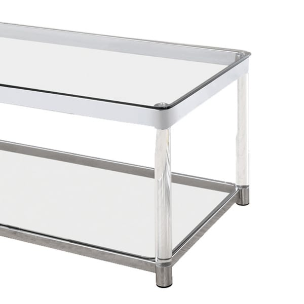 Acrylic Frame Coffee Table with Glass Top and Bottom Shelf,Clear and Chrome