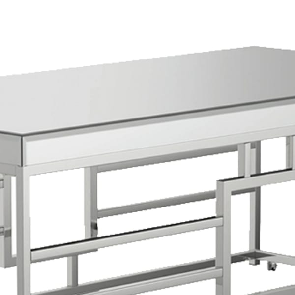 Rectangular Coffee Table with Mirrored Top with Caster Wheels, Silver