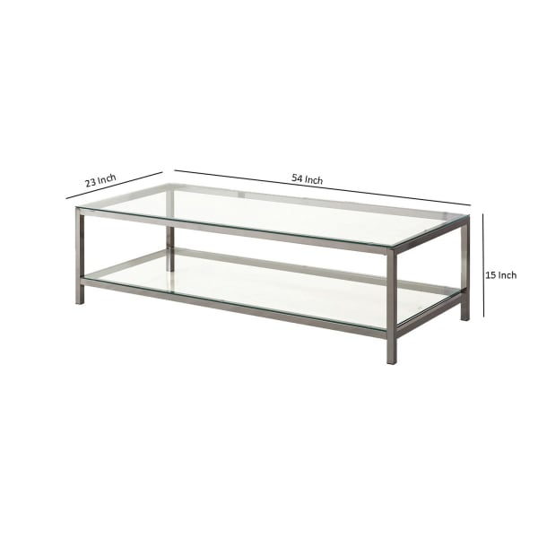 Glass Top Coffee Table with Metal Frame and Open Shelf, Silver