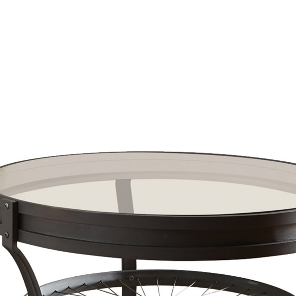 Glass Top Metal Coffee Table with Bike Spokes Design Bottom,Black and Clear