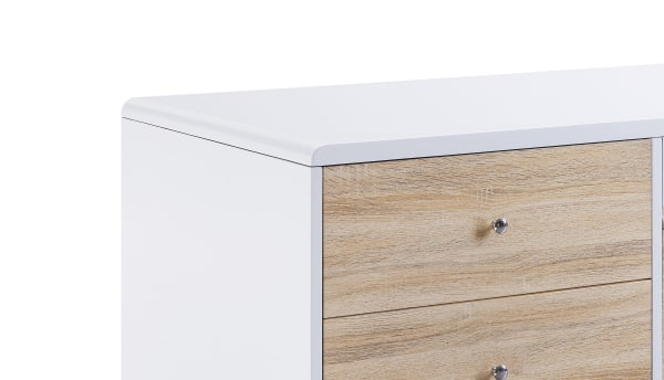 2 Drawer Contemporary Coffee Table with Pull Out Table, White and Brown