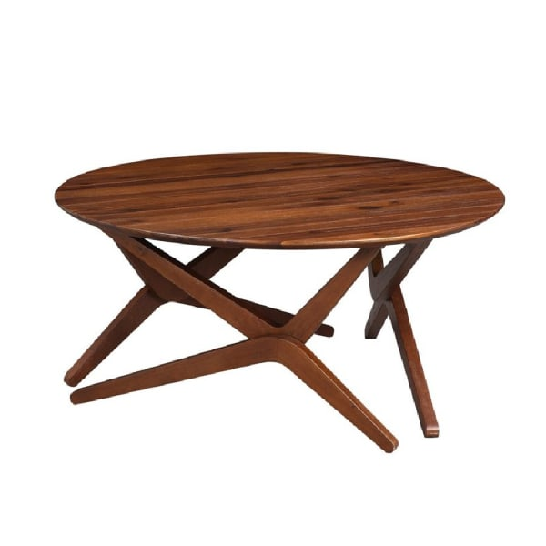 Round Wooden Adjustable Table with Boomerang Legs, Brown
