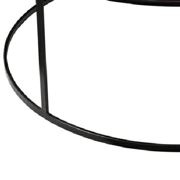 Round Metal Frame Side Table with Tubular Legs, Dark Brown