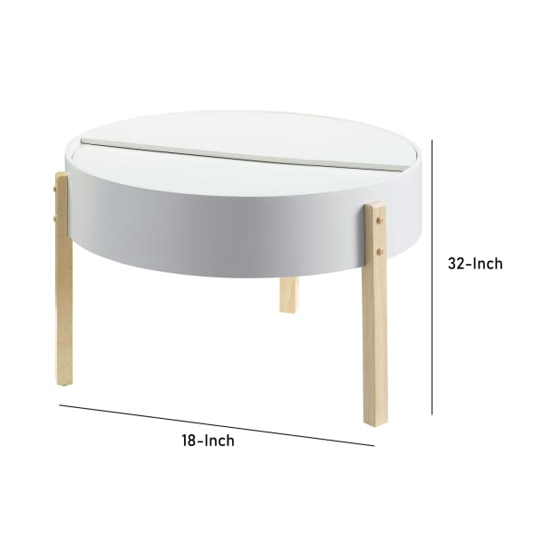 Round Wooden Coffee Table with Hidden Storage, White and Brown