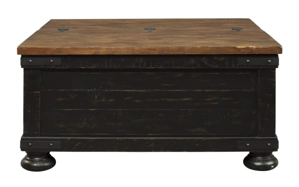 Square Wooden Lift Top Cocktail Table with Trunk Storage, Brown and Black
