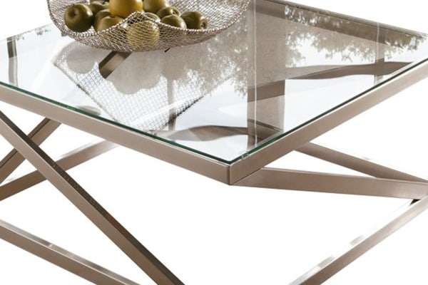 Square Glass Top Cocktail Table with Cantilever Frame, Silver and Clear