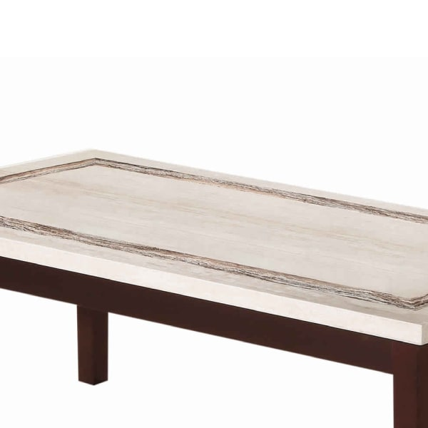 Wooden Coffee Table with Block Legs and Faux Marble Top, Brown and Beige
