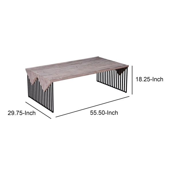 Rectangular Wooden Coffee Table with Sled Wire Base, Gray and Black