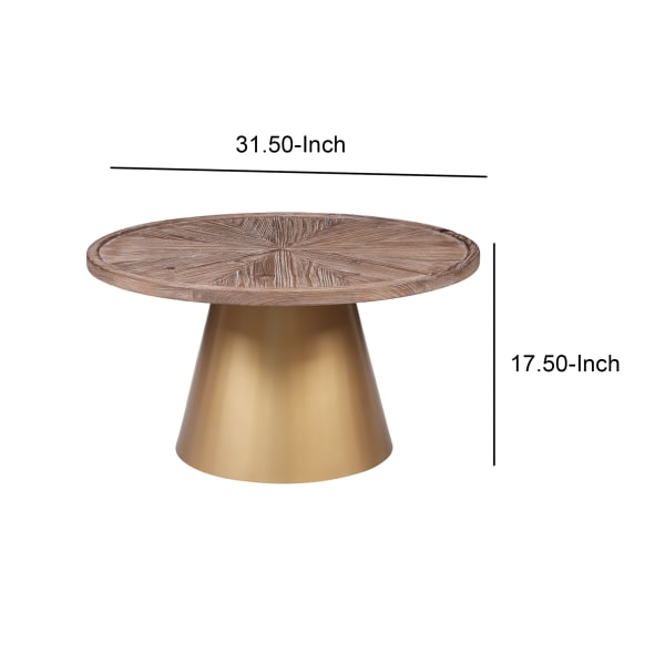 Round Wooden Top Coffee Table with Metal Conical Base, Brown and Gold