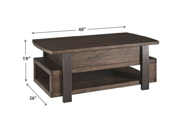 Wood and Metal Lift Top Coffee Table with Open Shelf, Brown