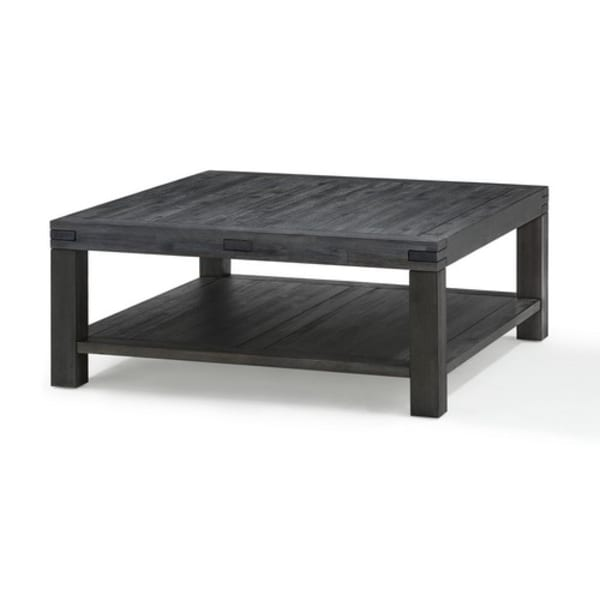 Square Coffee Table with Block Legs and 1 Open Shelf, Dark Gray
