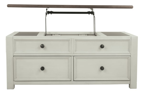 Cocktail Table With Spring Lift Top and Multiple Drawers, Brown and White