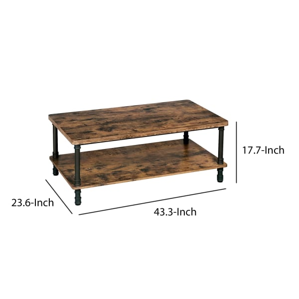 Wooden Coffee Table with 1 Bottom Shelf and Grain Details, Brown