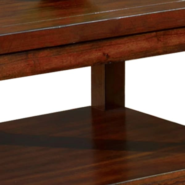 Traditional Coffee Table with Rectangular Top and Tapered Legs, Brown