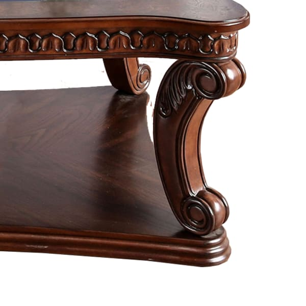 Traditional Coffee Table with Cabriole Legs and Wooden Carving, Brown