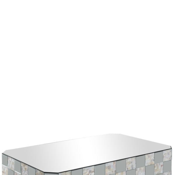 Wooden Coffee Table with Checkered Pattern Mirror Insets, Silver