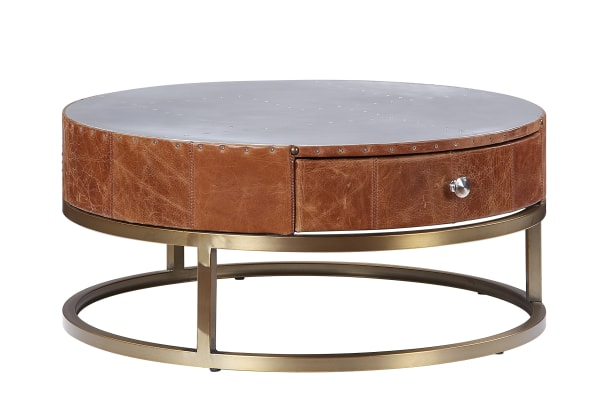 Round Metal Coffee Table with Airy Design Base, Small, Multicolor
