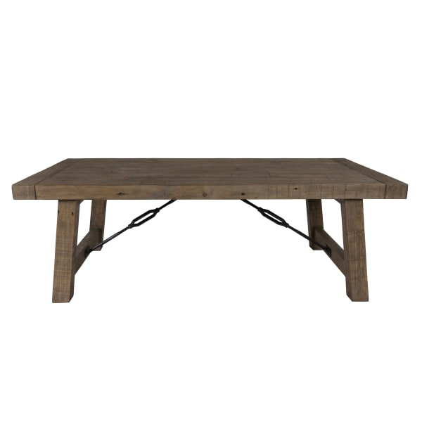 Handcrafted Reclaimed Wood Coffee Table with Grains, Weathered Gray