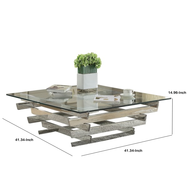 Square Top Coffee Table with Asymmetrical Stacked Base, Silver