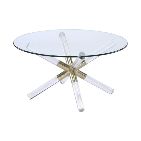 Round Glass Top Coffee Table with Cross Acrylic Legs, Clear