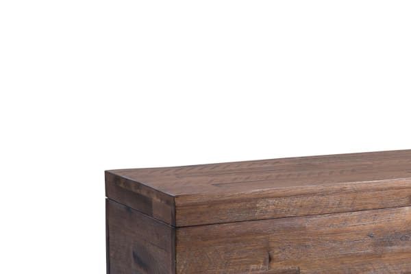 46 Inch Wooden Storage Trunk with Angled Sled Legs, Brown and Black