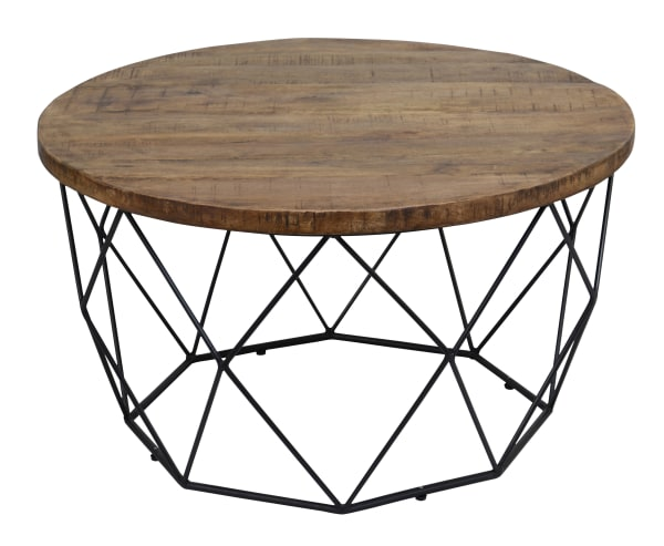 Round Wooden Coffee Table with Geometric Cutout Iron Base, Black and Brown