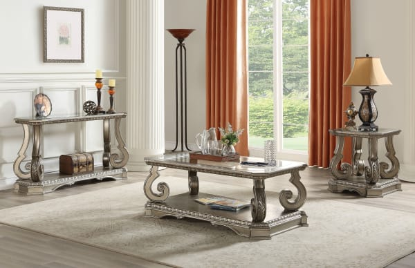 Wooden Coffee Table with Inserted Glass Top and Scrolled Legs, Silver and Clear