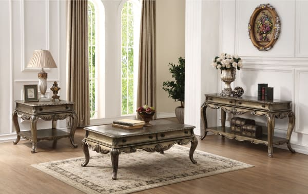 Wooden Rectangular Coffee Table with Cabriole Legs and Two Broad Drawers, Oak Brown