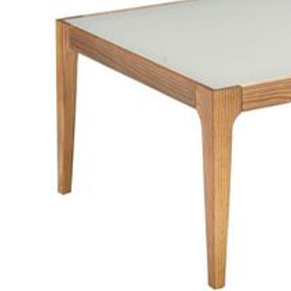 Wooden Frame Rectangular Coffee Table with Beveled Tempered Glass Top, Brown and Clear