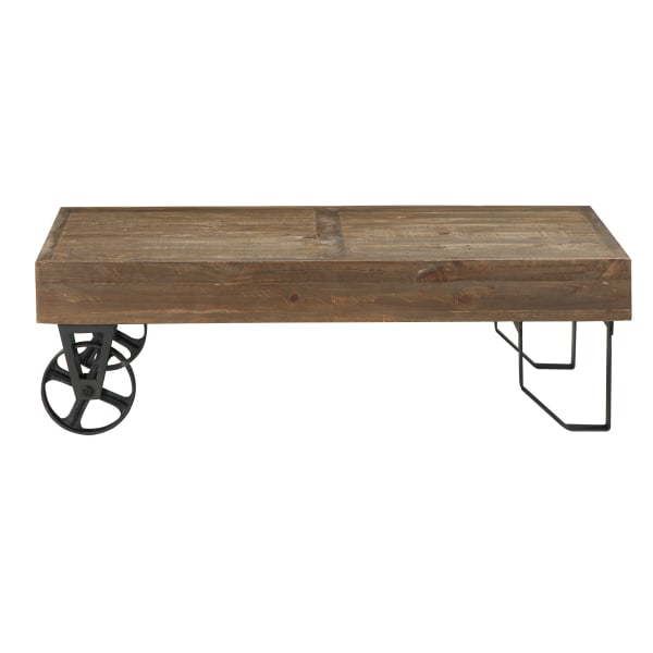 Rectangular Thick Wood Top Coffee Table with Sand Cast Metal Base, Brown