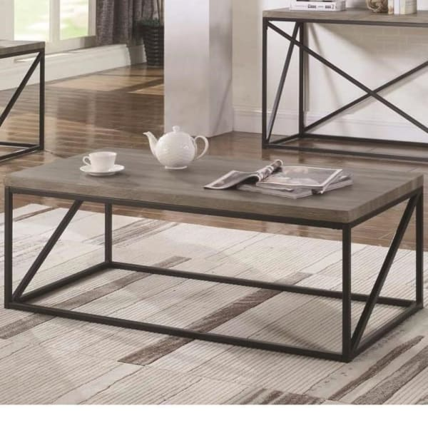 Industrial Style Minimal Coffee Table With Wooden Top And Metallic Base, Gray
