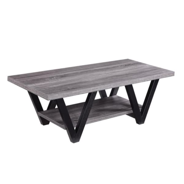 Zigzag Contemporary Solid Wooden Coffee Table With Bottom Shelf, Gray And Black