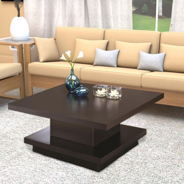 Contemporary Coffee Table With Storage Pedestal Base, Cappuccino Brown