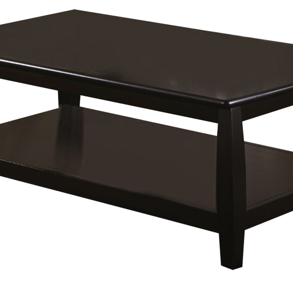 Contemporary Style Wooden Coffee Table With Slightly Rounded Shape, Dark Brown