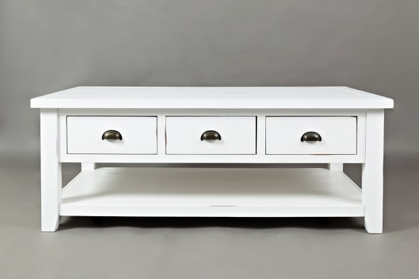 3 Drawer Cocktail Table With Open Shelf Beneath, Weathered White