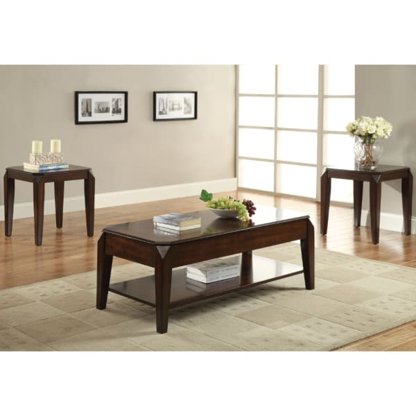 Wooden Coffee Table with Lift Top and Open Bottom Shelf, Brown