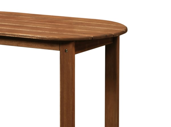 Outdoor Wooden Coffee Table with Slatted Oblong Shape Top, Brown