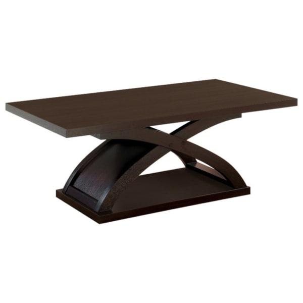 Rectangular Top Wooden Coffee Table with X Shape Base, Dark Walnut Brown