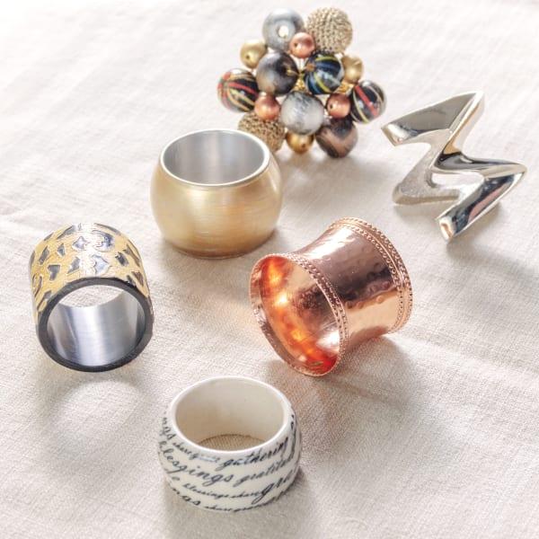 Pier 1 Black & Copper Gems Napkin Ring Set of 6